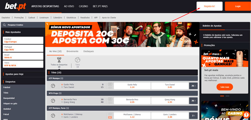 Como se registrar no site da Bet.pt